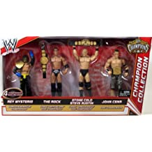 Mattel WWE Wrestling Exclusive Champion Collection Action Figure 4-Pack Rey Mysterio, The Rock, Steve Austin & John Cena [4 Championship Belts!]