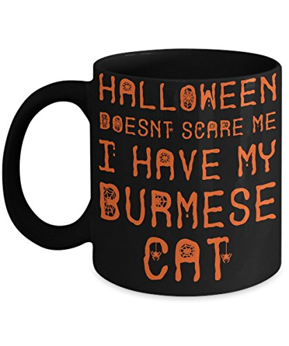 Halloween Burmese Cat Mug - White 11oz Ceramic Tea Coffee Cup - Perfect For Travel And Gifts -