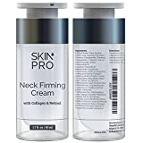 Neck Firming Cream - Anti Aging & Skin Tightening Serum by SkinPro - Age Defying - Made with Marine Collagen & Peptides - Contains Vitamin A & Retinol for Firm Skin - Paraben Free