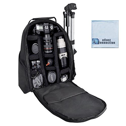 (eCost BKP457 Deluxe Camera/Video Padded Backpack for SLR / DSLR Cameras with Microfiber Cloth)