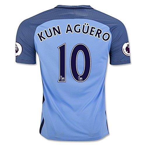 City Soccer Jersey (KUN AGUERO 10 Manchester City 16/17 Soccer Jersey Men's Home Color Blue Size)