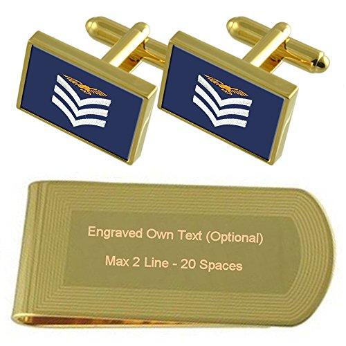 Aérea Rango Grabado Tono Regalo Sargento Tripulación Aérea Fuerza Conjunto Insignia De Dorado Raf De Gemelos Clip La En De Uz4qnI