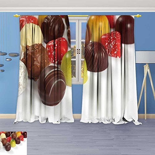 SOCOMIMI Thermal Insulated Blackout Curtain Photo ssorted Truffles pralines and Liqueur Filled Chocolates Living Room Bedroom Window Drapes 2 Panel Set 120W x 108L inch