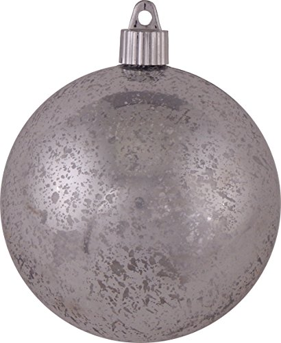 Christmas By Krebs CBK60449 Round Shiny Shatterproof Ball Ornaments, 6-Inch, Silver Mercury, Set of 12 ()