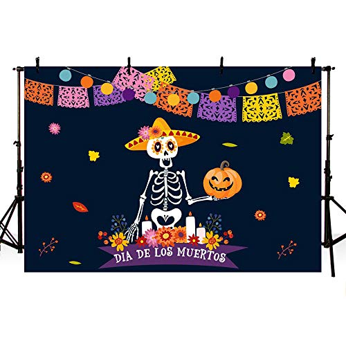 MEHOFOTO Dia de Los Muertos Party Decoration Photo Studio Booth Background Props Mexcian Day of The Dead Sugar Skull Fiesta Colorful Floral Halloween Pumpkin Backdrop Banner for Photography 7x5ft