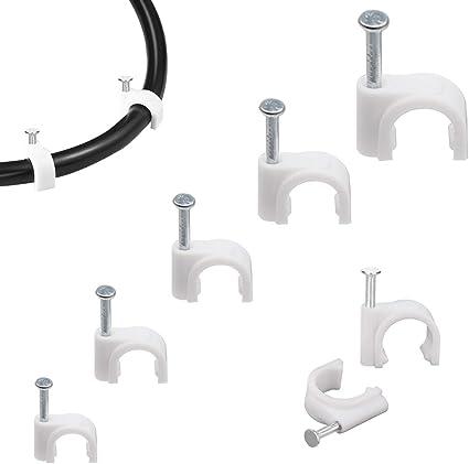 500 Stücke Kabelschellen Nagelschellen Haftclips Mit Nagel Für Kabel Größen 5mm 6mm 7mm 8mm 10mm 100 Stück Je Größe Weiß Weiß Baumarkt
