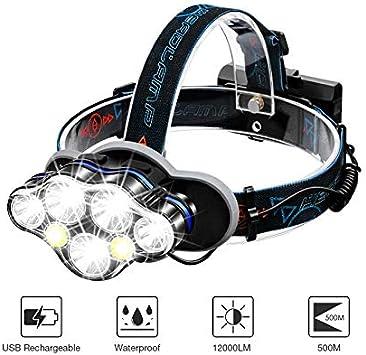 Linterna Frontal LED, SGODDE Luz Frontal de USB Rechable 5500 lm ...