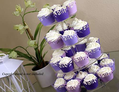 All About Details Purple Ombre Fifty Cupcake Wrappers Kit, 32pcs