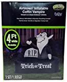 Halloween Airblown Inflatable Vampire In Coffin R.I.P. Trick Or Treat 4 Ft Wide Lights Up