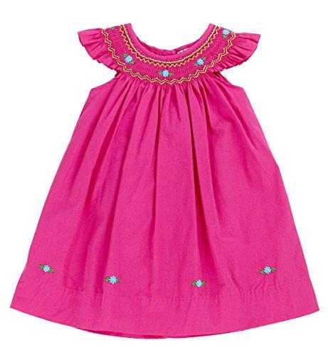 sissymini - Infant & Toddler Spring/Summer Jane Ever Hand Smocked Dress Angel Sleeve - (Fuchsia, 2T)