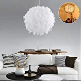 Feather Light Shade Ceiling Pendant White Lampshade with E27 Bulb Elegant Feather Lamp and Shade Luxury for Living Room Bedroom De