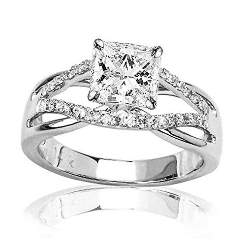 14K White Gold 1.77 CTW Princess Cut Infinity Twisting Split Shank Pave Set Round Diamonds Engagement Ring, J Color I2 Clarity, 1.5 Ct Center