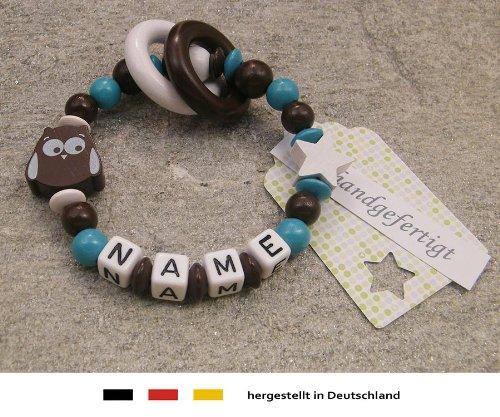 Baby Greifling Beißring geschlossen mit Namen | individuelles Holz Lernspielzeug als Geschenk zur Geburt & Taufe | Mädchen & Jungen Motiv Eule & Stern in braun