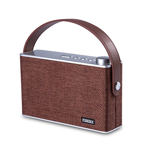 PUREBOX Portable Wireless Bluetooth Speakers with Handle Classic Radio Design Build-in Mic  Support Hands-free Function Stereo Speaker for Smartphones Tablets and More,Coffee