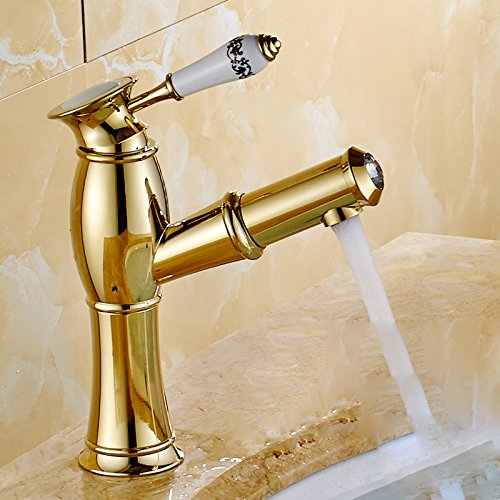 A Bright gold Standard) Hlluya Professional Sink Mixer Tap Kitchen Faucet A full-scale copper basin gold surface basin of cold and hot antique pull faucet basin wash head, antique, antique plus high