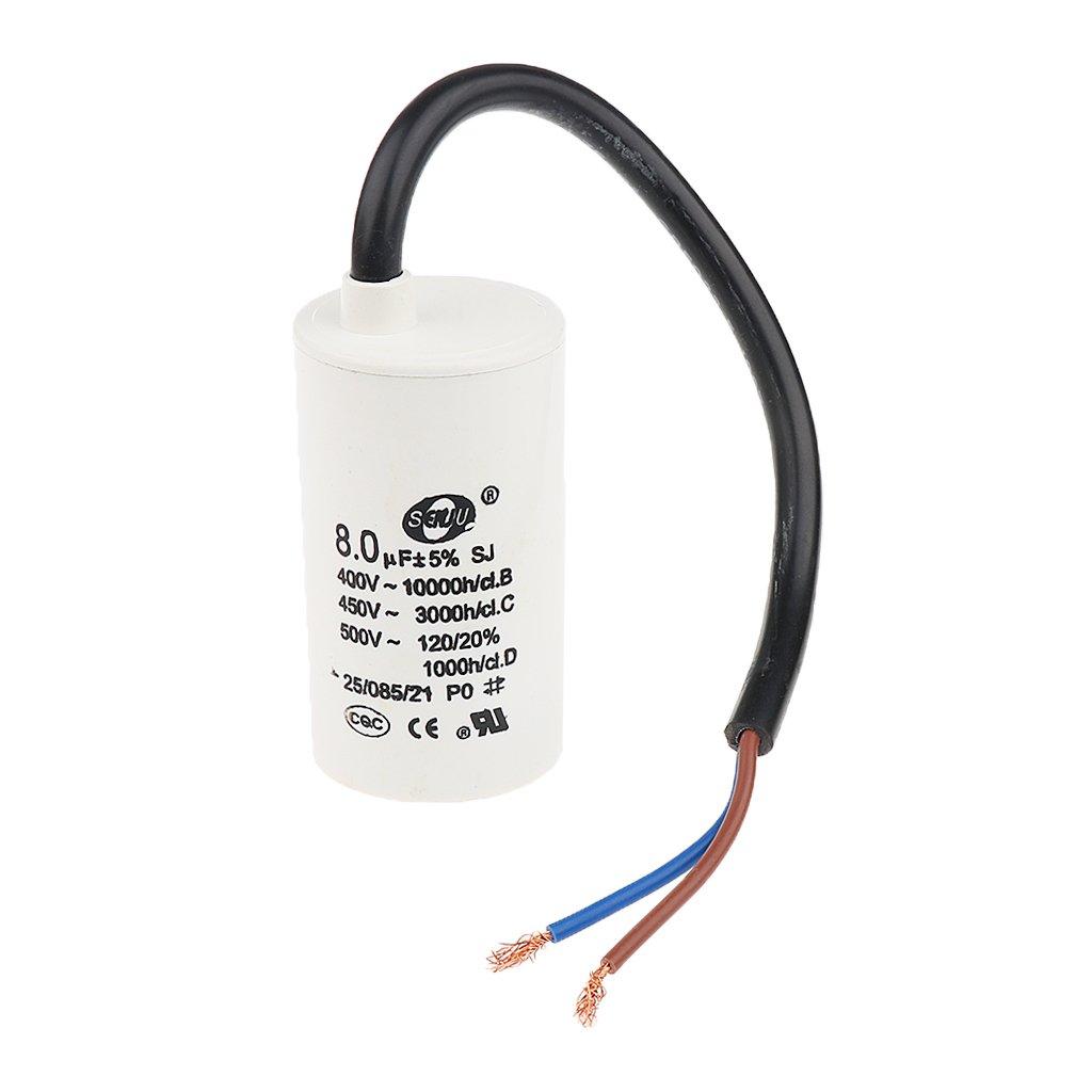 H HILABEE Condensateur Moteur /à C/ôque Blanche CBB60 8uF AC 450V