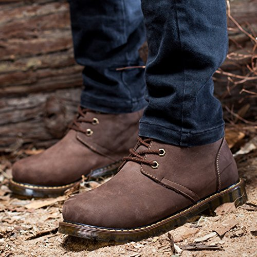 Comfort Velvet Sole Boots Rubber Men's Moccasins Fashion TDA Warm Leather Ankle Brown Keep 8wqESxIUx