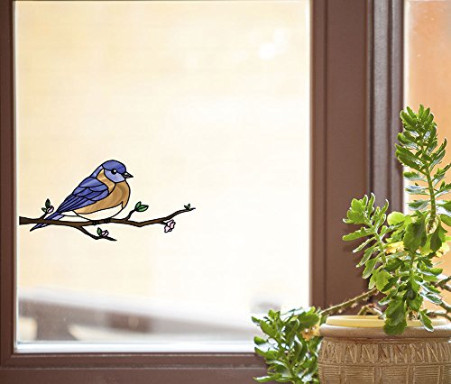 Bird - Eastern Bluebird Perched on Branch - Stained Glass Style See-Through Vinyl Window Decal - Copyright 2015 Yadda-Yadda Design Co. (Variations Available) (MD 6.5