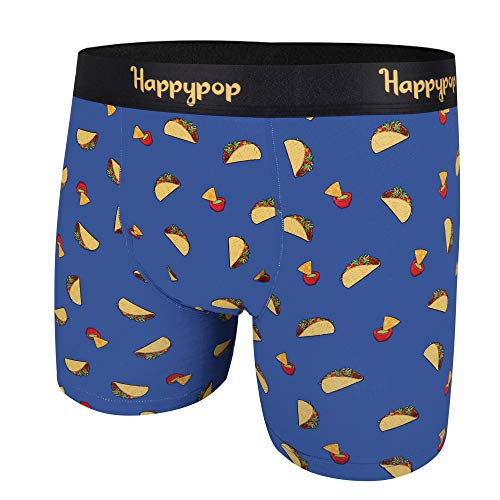 HAPPYPOP Mens Pouch Boxer Briefs Button Taco Donut Flamingo Pineapple Underwear