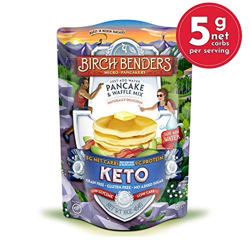 Keto Pancake & Waffle Mix by Birch Benders, Low-Carb, High Protein, Grain-free, Gluten-free, Low Glycemic, Keto-Friendly, Made with Almond, Coconut & Cassava Flour, 16 oz