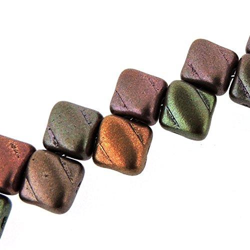 Czech Silky Beads Glass 2-hole Diamond-shape Tile Beads 6mm - Crystal Violet Rainbow (Violet Rainbow Thread)