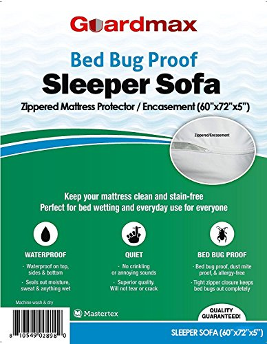 "Guardmax Sleeper Sofa zippered mattress protector / encasement (60"" x 72"" x 5"") 100% waterproof Bed Bug proof Sofa Bed Mattress cover - Quality Guaranteed!"