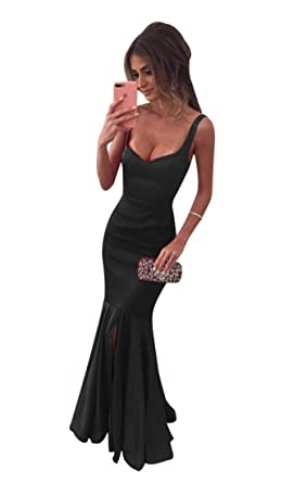 ScelleBridal Red Satin Ruffles Mermaid Prom Dresses with Split Black 2