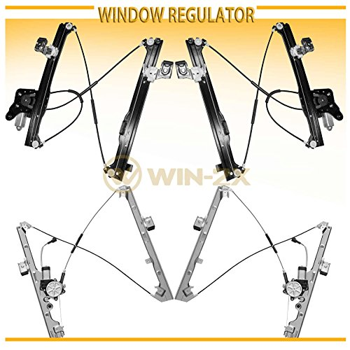 WIN-2X New 4pcs Complete Front+Rear Side Power Window Regulator With Motor Assembly Fit Cadillac Escalade EXT/ESV Chevy Suburban Avalanche GMC Yukon XL Silverado/Sierra 1500 2500 3500 Classic Crew ()