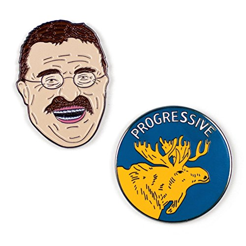 (The Unemployed Philosophers Guild Teddy Roosevelt and Bull Moose Enamel Pin Set - 2 Unique Colored Metal Lapel)