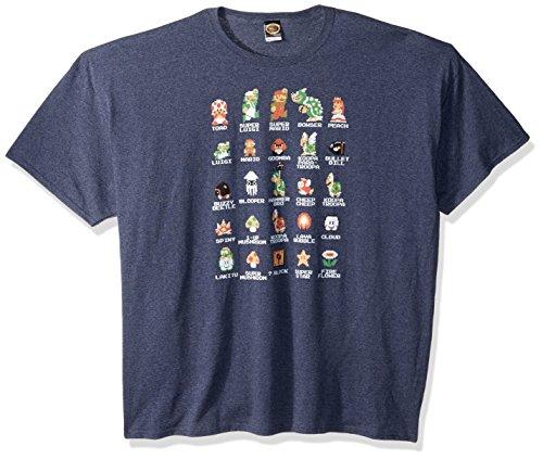 Nintendo Men's Pixel Cast T-Shirt, Premium Navy Heather, 3XL