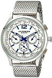 Akribos XXIV Men's AK716SS Explorer Stainless Steel Multifunction Watch with Mesh Bracelet