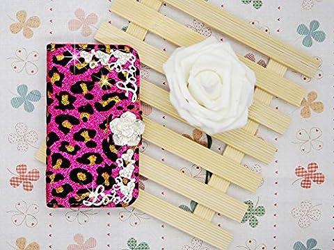 Luxury Crystal Rhinestone Diamond Camellia BLING CRYSTAL Leopard Velvet COVER WALLET CASE FOR rose LG G G3 Vigor MINI (Lg G3 Vigor Leopard Phone Case)