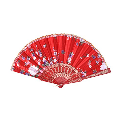 Topshop Retro Favor Pocket Fan Folding Hand Held Fan Floral Fabric Wedding Dance (Red)