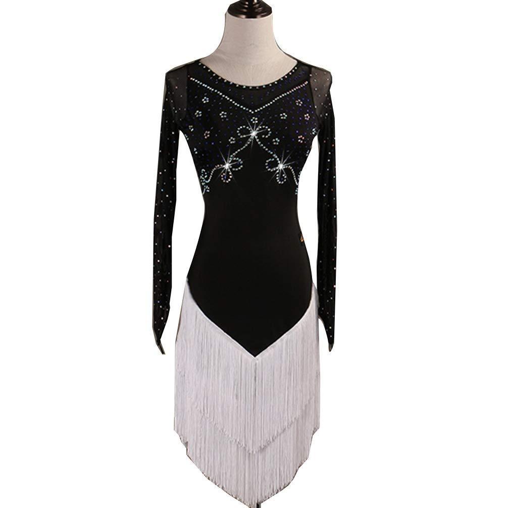 大人のラテンダンスの競争のタッセルの服長袖の競争のスカートの性能の衣裳 B07QZRTKK4 ブラック XXL