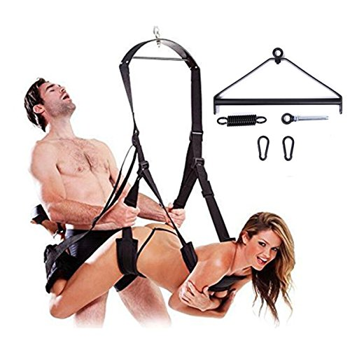 Umitering 3rd Generation Indoor Yoga Swing Set Deluxe Aerial Hammock Yoga Swing Inversion Ceiling Sling Flying Antigravity for Couples Women with Steel Triangle Frame, Spring and Hook(Black) by Umitering