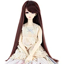 Synthetic Long Straight 9-10 Inch 1/3 BJD MSD DOD Pullip Dollfie Doll Wig Hair Accessories Not for Human (Dark Brown)