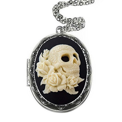 Day Of The Dead Skull Cameo Locket Necklace