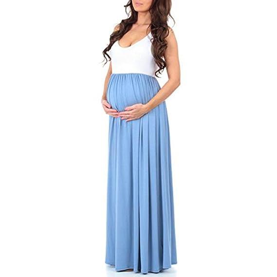 Vestido De Maternidad Rawdah Ropa De Maternidad Primavera Regalos De Maternidad Vestido De Maternidad Maxi Madre Splice Sundress Mujer Sin Mangas Embarazada ...
