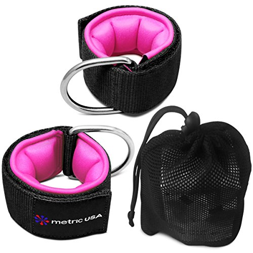 Ankle Straps for Cable Machines Set of 2 – Extra Padded Adjustable Leg Pull Resistance Straps for Perfect Glute/Ab Fitness Cuffs in Strong D-Ring Attachment + Free Deodorizer Case By Metric (Free Extra Strap)