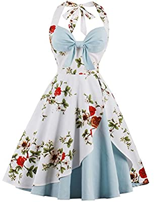 Ayli Women's Halter Sleeveless 1950s Retro Vintage Style Hollywood Flower Cocktail Swing Dress
