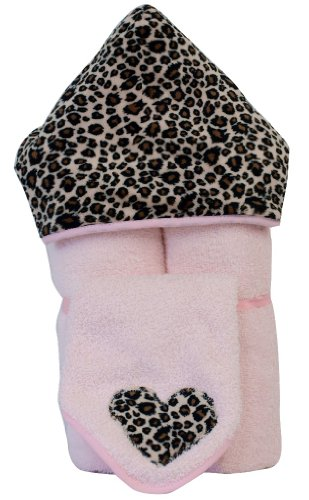 Tickle Toes - Cheetah Minky Hooded Towel on Pink