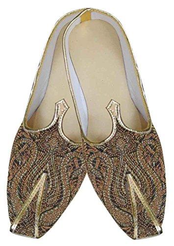 Inmonarch Marron Brocade Chaussures De Mariage Designer Mj0055