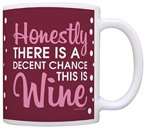 Coffee Lovers Gifts Decent Chance This is Wine Fun Office Gift Coffee Mug Tea Cup Maroon Polka Dots