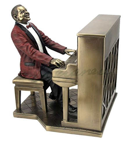 African American Jazz Band Pianist, Cold Cast Bronze Statue Figurine 8 7 8 Inch Tall