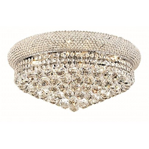 Elegant Lighting 1800F20C/RC Royal Cut Clear Crystal Primo 10-Light, Single-Tier Flush Mount Crystal Chandelier, Finished In Chrome with Clear Crystals from Elegant Lighting