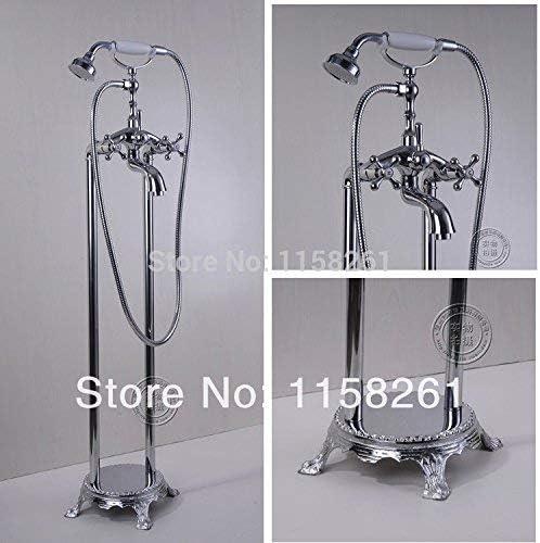 Yadianna 蛇口 バスルームクロームフロアは蛇口電話タイプ風呂シャワーミキサー真鍮のシャワーセットの高級バスタブをタップHJ-5043、ホワイトスタンド