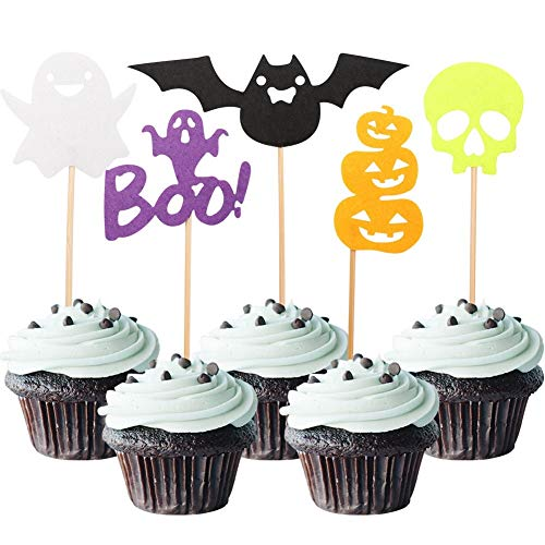 50 Pcs Halloween Cupcake Toppers- Pumpkin Bat Ghost Decoration for Halloween Decorations- Cake Decorating Supplies Colors- Halloween Party Accessories (100) -
