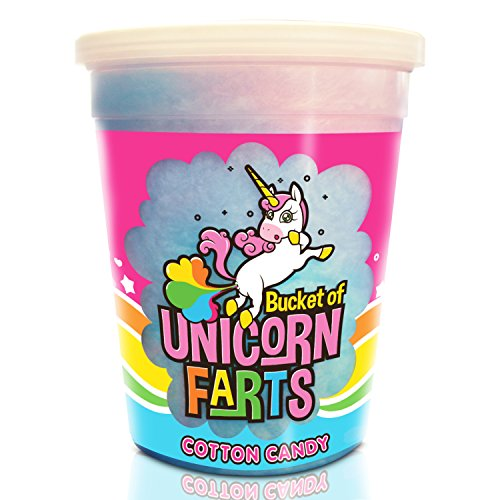 Bucket of Unicorn Farts Cotton Candy - Novelty Unicorn Gifts - Funny Birthday Gag Gift - For Women, Men, Kids, Friends and Family