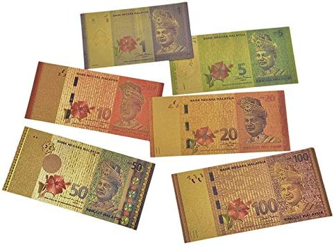 HENGTONGTONGXUN 6PCSプラスチックギフトマレーシア1 5 10 20 50 100リンギット紙幣として24K金