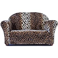 Keet Roundy Faux Fur Childrens Sofa, Leopard